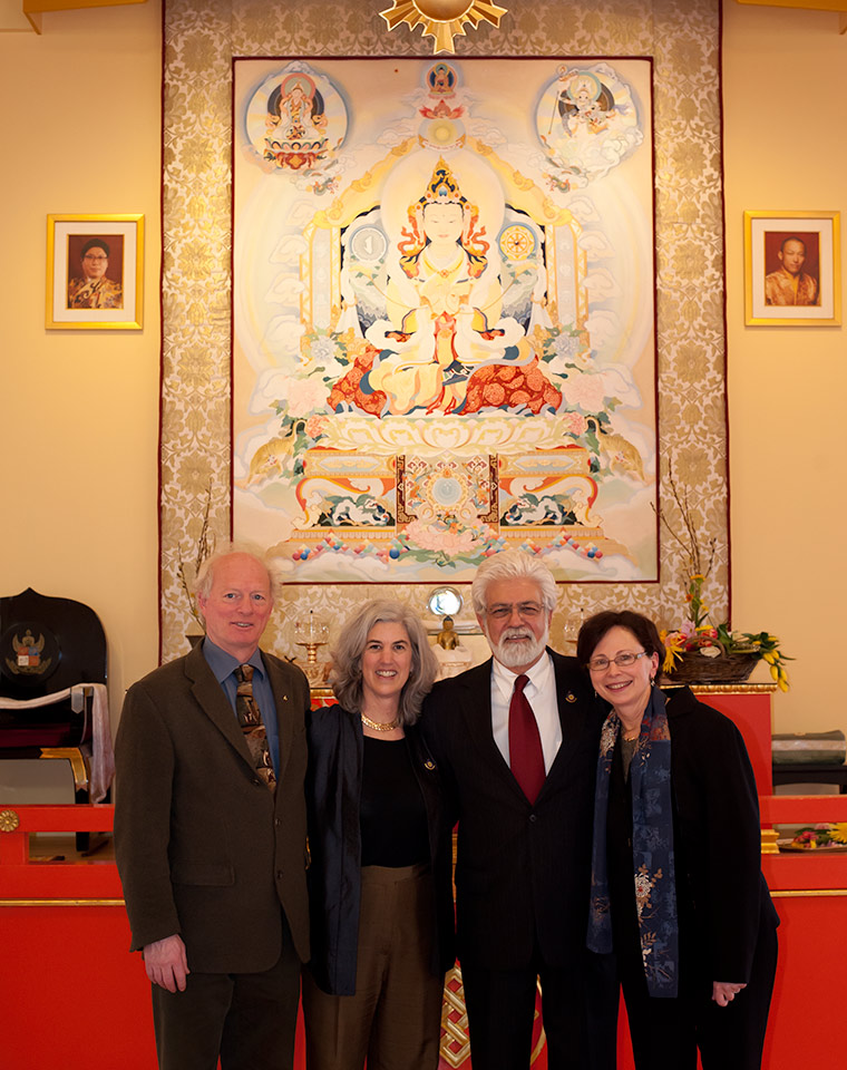 Practice Center Directors gather before the new Rigden Thangka