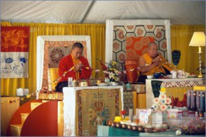 Sakyong Mipham and Penor Rinpoche during consecration of the Great Stupa of Dharmakaya. Photo courtesy of Shambhala Mountain Center.