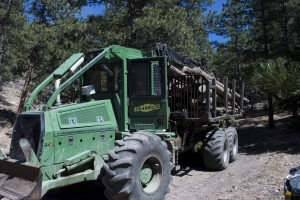 A forwarder removes a load of tree trucks from the land.