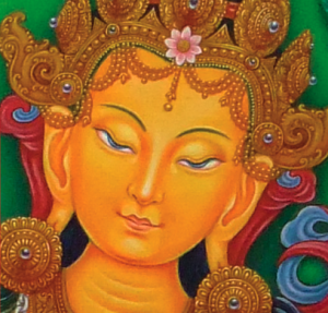 Detail from Manjushri by Sukha Raj Tamang, 2010. Gouache on cottong.