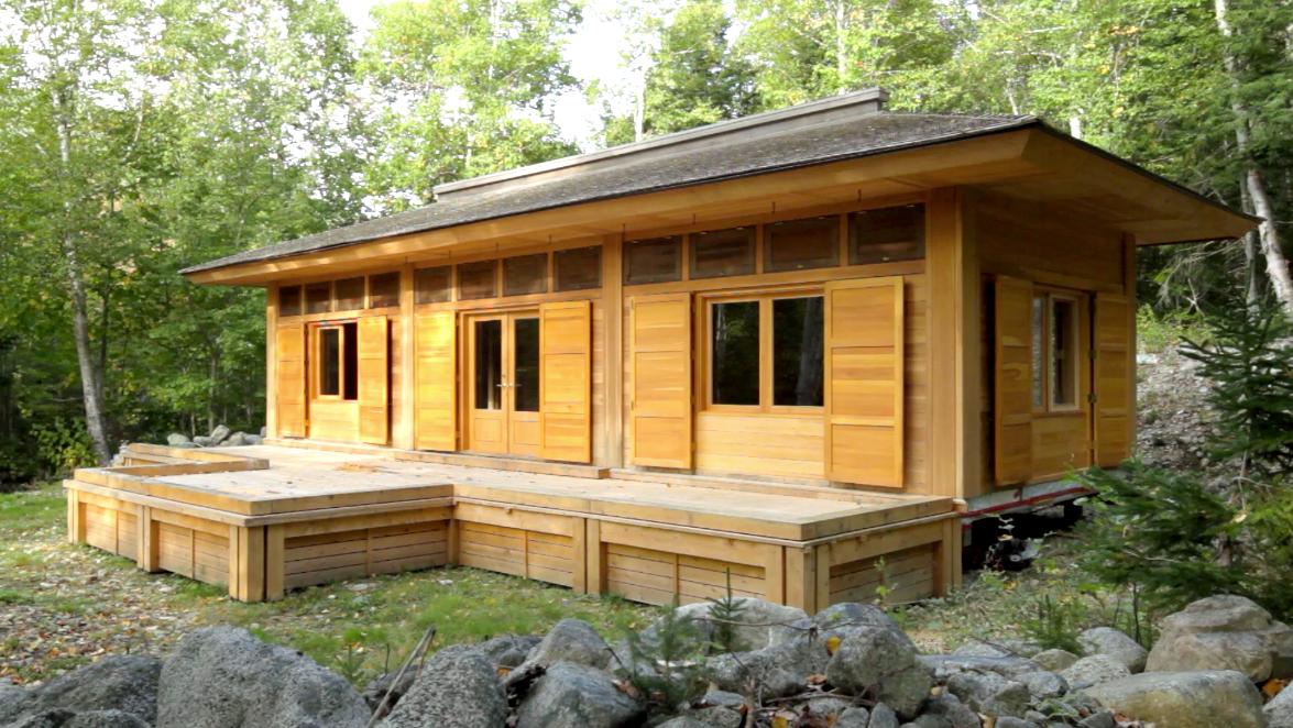 Sakyong's Retreat Cabin with lower darking shutters open