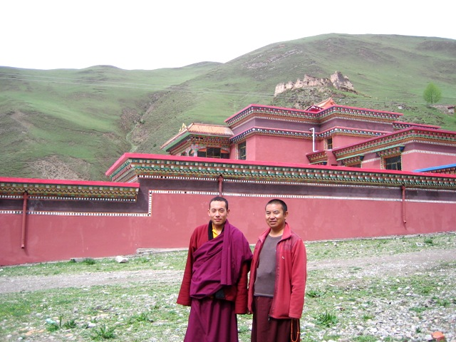 The Twelfth Trungpa and Surmang Khenpo in front of the Shedra.