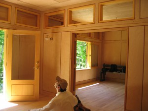 Birch and cyprus wood interior finish