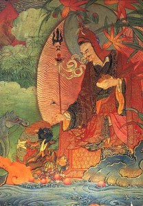 Padmasambhava subjugating a naga king, Nele Thokar. Photo by Thomas Laird, at the Rubin