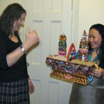 Kaling greets guests with a traditional Tibetan offering