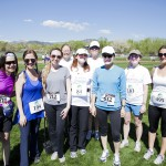 The Sakyong Wangmo celebrates running her first race with friends and fellow runners (left to right) Mariah Simonton, Nina Rolle, Sophie Maclaren, Kathryn Heckman, Wendy Friedman, Molly McQue, Betsy Railla and Margo Shean.  Photo by Kevin Hoagland
