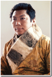 The Vidyahara Chogyam Trungpa Rinpoche in the robe of the 10th Trungpa. Photo by Martin Janowitz