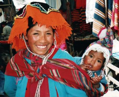Woman and child in market in the Valle Sagrada, Sacred Valley, Peru; photo by Deborah Lafferty