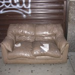 Ashe on a neglected couch on 28th Street, NYC