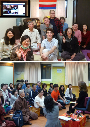 Top: Lovely Shambhala Taipei members and their Online TV screen. Bottom: Marlow Brooks taught Shambhala Training Level One in Taipei, March, 2012.
