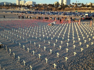 A veterans' memorial on the beach in Santa Monica, CA.