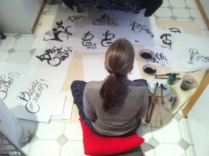 """Anne Saitzyk making an image for Marcelle Gilkerson's project, """"Discovering Basic Goodness"""". A collection of stories and images to benefit the Columbus Shambhala Center"""