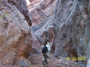 Gail McDonald and Laura McNulty hiking in Monument Creek Canyon