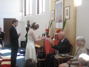 Paul Warwick officiating at Dia and Eric Ballous's wedding