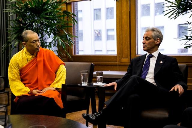 Sakyong Mipham and Mayor Rahm Emanuel, photo by Breton Hoagland