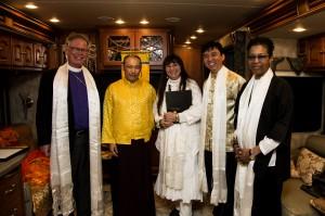 Left to right: Bishop Andrus, Sakyong Mipham, Jyoti, Chade-Meng Tan and Rev Angel Kyodo Williams, photo by Breton Hoagland