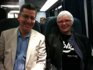 Nikko and Judy on the train to Boston