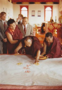 HH Karmapa and VCTR golden handprint, Shambhala Archives