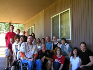 A group photo in front of the Red Feather Lodge.