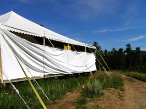 """Side of the tent where I would """"use the bathroom."""""""