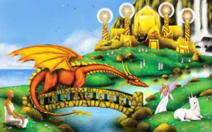 Illustration depicting the Shambhala kingdom that  appears to those who need to find it
