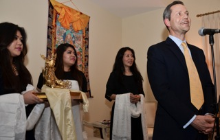 Goldstein family offers a statue of Gesar to Jetsun Yudra; Goldstein family includes the Sakyong Wangmo's nieces Palden and Sonam and her sister Semo Palmo and brother-in-law Alan Goldstein