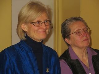 Acharya Suzann Duquette and Jeanine Greenleaf at the dinner