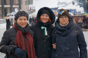 Ira (in the center) with friends at the protest