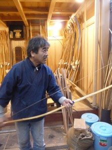 Shibata Kanjuro XXI in his shop in the family home