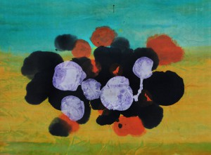 Iridescent Bubble: mixed media on rice paper, mounted on paper. 22 by 15 inches.