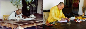 The first Sakyong composing the Werma Sadhana in 1981; The Kongma Sakyong composing in that same spot 33 years later. Click photo to view larger