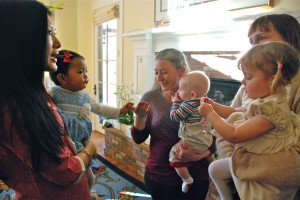 The Sakyong Wangmo and Jetsun Yudra gather with other mothers and babies, photo by Pablo Coddou