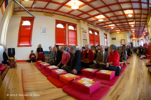 the assembly practices the Shambhala Sadhana, photo by Marv Ross