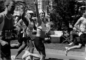 Sakyong Mipham at Mile 19 of the Boston Marathon, 2005, photo by Mary Lang