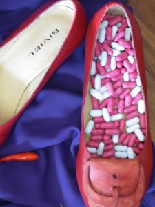 Shoes with candy, by Angela Lloyd
