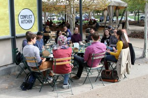 Informal discussions with speakers at Conflict Kitchen