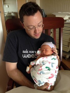 new father Josh Silberstein and little Jackson Lawrence Downey Silberstein