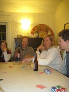 A poker game at Shambhala Mountain Center, with Colleen Seltz, Danny Boyce, and Annie Cox