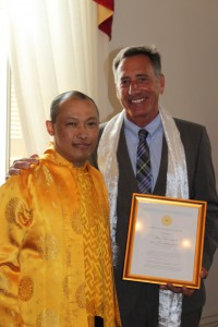 Sakyong Mipham Rinpoche and Governor Shumlin of Vermont, photo by Laura Greer