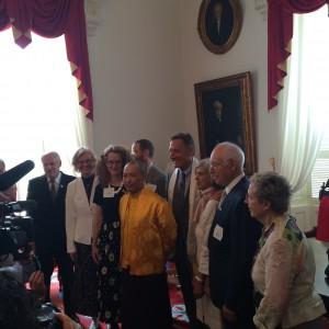 Saykong Mipham and Governor Shumlin pose with Shambhala dignitaries, photo by Evan Silverman