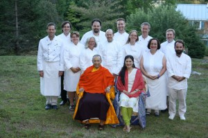 Behind the Sakyong and Sakyong Wangmo left to right: Machen Corps Commander Michael Weiss, ADC Nathan Railla, Cecilia Driscoll, Susan Morin, Kevin Hoagland, Jeffrey Stevens, Anthony Miller, Dorothée Rosen, Stephan Bierling, Meta Maertens, Janos Porps, Joe Schoech, (not pictured: Marvin Robinson); photo courtesy of Ian Bascetta