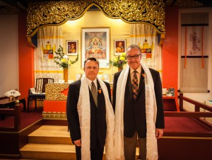 McGee and Avdulov Sensei after receiving the Order of Elegance of Shambhala award (2014), by Marvin Moore