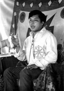 Chogyam Trungpa Rinpoche teaching in North America, circa 1971, photographer unknown