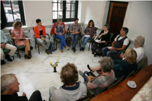 Group sharing inside of 'Getting in touch with brilliant sanity' workshop