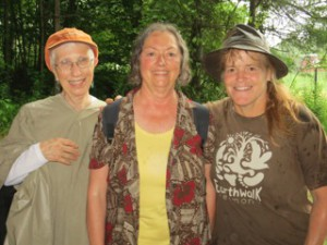 The author Cara Thornley, Sherry Ellms, Assistant Professor of Environmental Studies, Naropa University and  Angella Gibbons at Earthwalk. July 2013