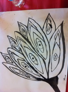 A student's tone drawing of a lotus