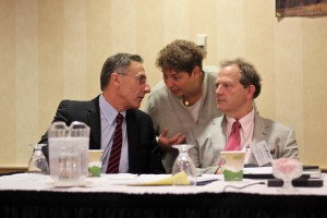 Ellen Kahler talking to Governor Peter Shumlin (whom the Sakyong met in June) and Secretary of Agriculture, Food & Markets Chuck Ross – photo taken at the Annual Vermont Farm to Plate Network Gathering in October, 2014