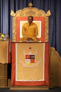 The Sakyong offers his Shambhala Day address (Photo credit BHH Studios)