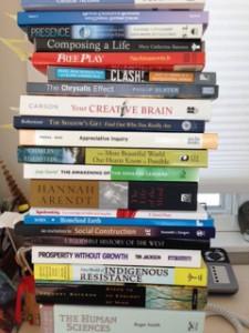 Heather's stack of program reading