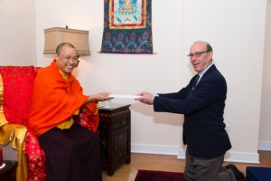 presenting the letter to the Sakyong, photo by BHH Studios